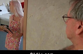 Young maid fucking porn addict grandpa gets facial cumshot in mouth