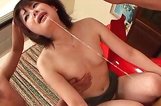 Asian cutie forced into oral sex chokes on two hard shafts