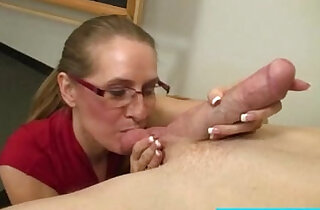 Mature sucking on students cock