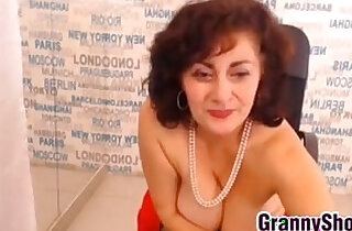 Granny In Stockings Rubbing Pussy