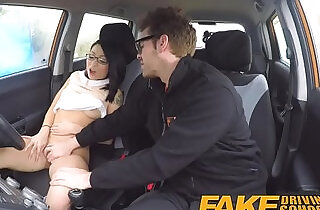 Fake Driving School wild ride for petite Asian with glasses