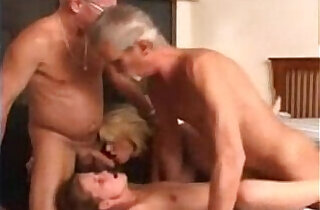 Granny wife and a young chick in a foursome