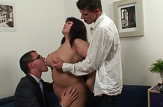 Huge titted bitch takes cocks after photosession