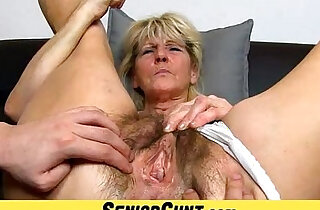 Hairy pussy close ups and fingering with grandma Hanna