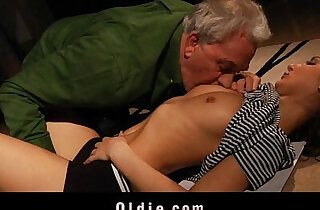 Old man got fuck from blonde