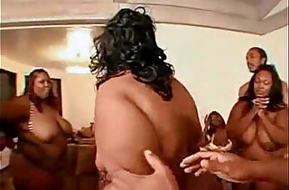 Large group of fat black women and horny men gets together