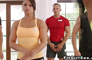 Interracial action of fitness babes