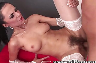 Hairy mature woman gets sodomized