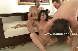 Brunette sexy slut forced to suck and fucked in extreme group sex