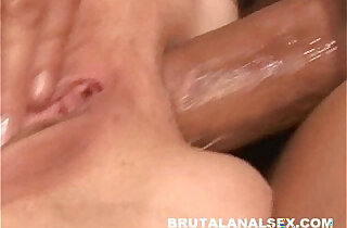 Brunette sucking juices off a cock fucked her ass