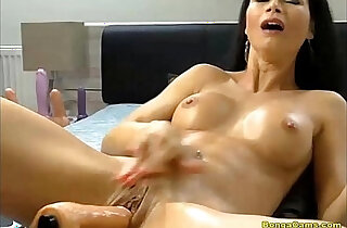 Brunette enjoying her very first time ever anal with machine and squirting