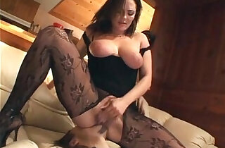 Cunnilingus with a busty amateur babe in crotchless nylon