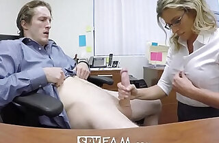 SpyFam Step son office anal strapon fuck each other with step mom Cory Chase at work