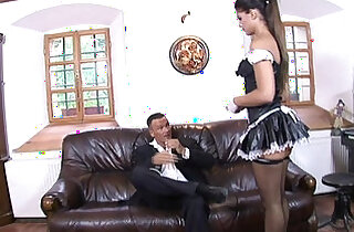 Perfect sexy teen maid eagerly fucked deep and hard on sofa till cumshot by big dick