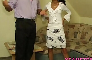 Pretty teen stepdaughter she takes big stepdad cock in mouth cum