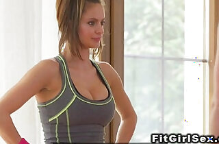 Lesbian fitness coach toys sexy babe