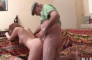 French slut sodomized in threesome sex with Papy Voyeur