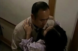 Japanese wife with neighbor when her husband is sleeping
