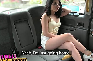 Female Fake Taxi Sexy American minx fucks and licks her pussy for taxi cam